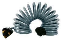 Coiled retractable electrical extension cord