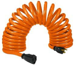 coiled extension electrical cord